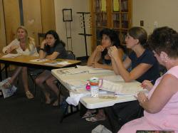 Homeschool moms at a workshop