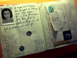 A photo of Anne Frank's actual diary.