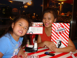 T.G.I.Fridays caters to kids with free meals on Mondays and Tuesdays.